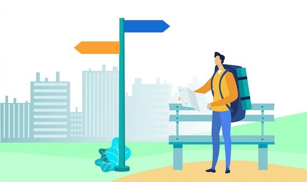 Turista con l'illustrazione piana di vettore della mappa di carta
