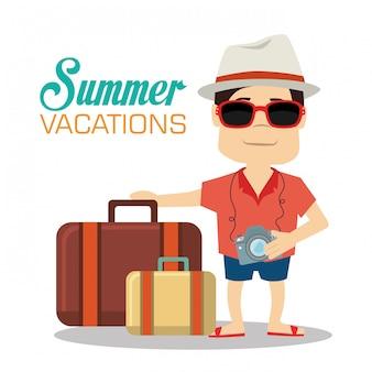 Turista con macchina fotografica e bagagli