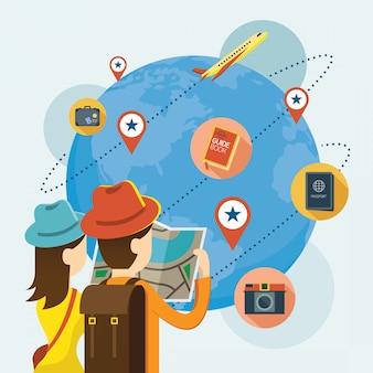Turista delle coppie con le icone di viaggio in tutto il mondo, concetto di esplorazione di avventura