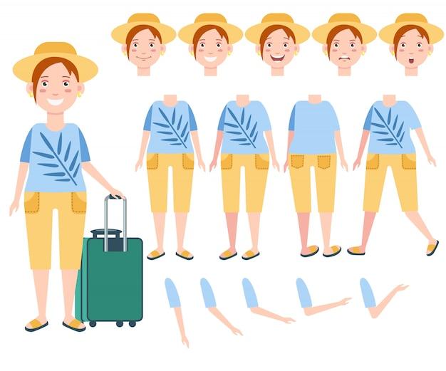 Turista femminile felice in cappello del sole con set di caratteri di bagagli