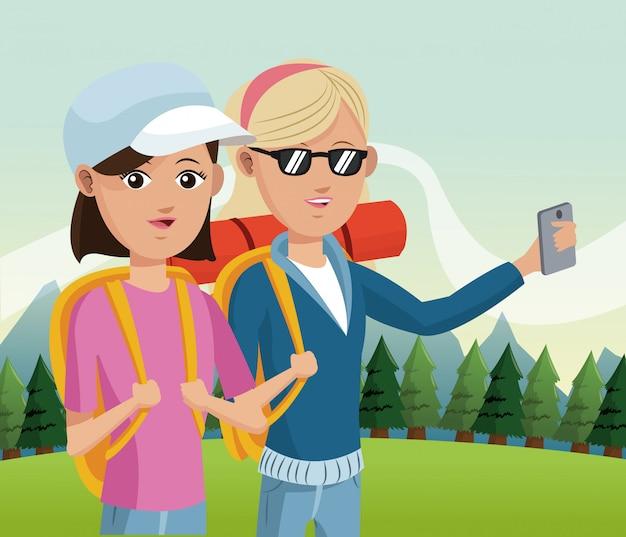 Turista in montagna