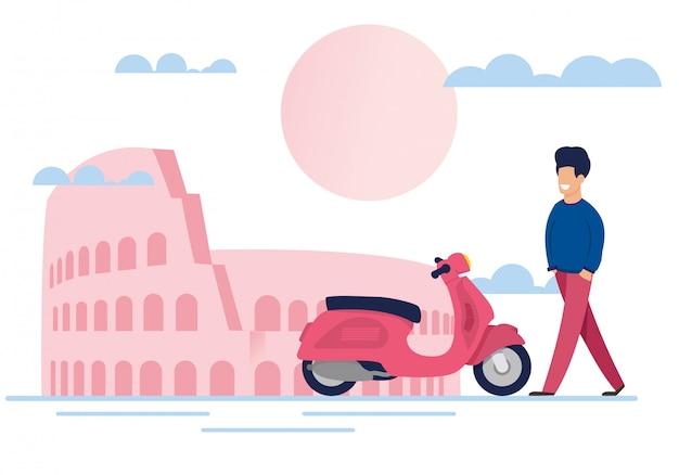 Turista maschio sorridente e ciclomotore su city street