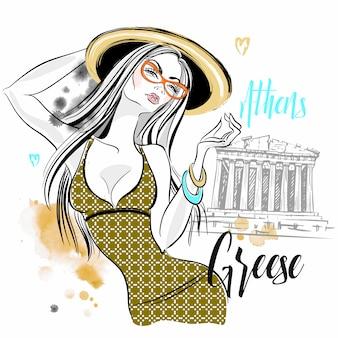 Turista ragazza in grecia. partenone dell'acropoli di atene. viaggio.