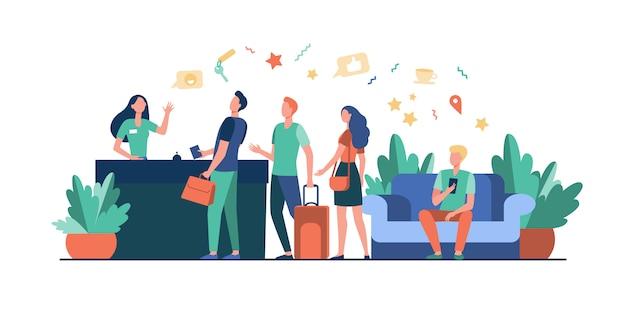 Turisti con borse check-in in hotel