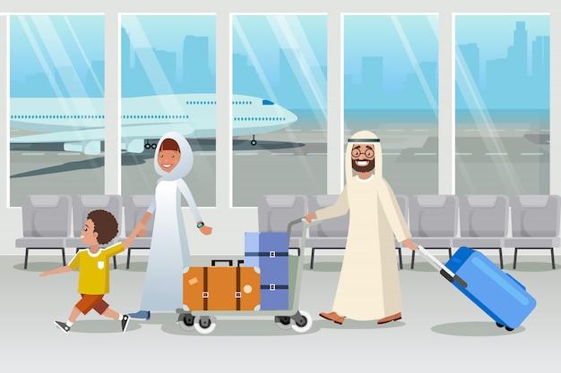 Turisti dell'arabia saudita nel vettore del fumetto dell'aeroporto