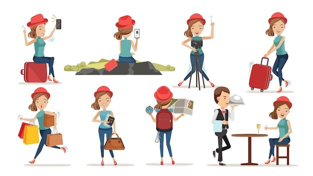 Turisti femminili unico concetto di viaggio di vita.