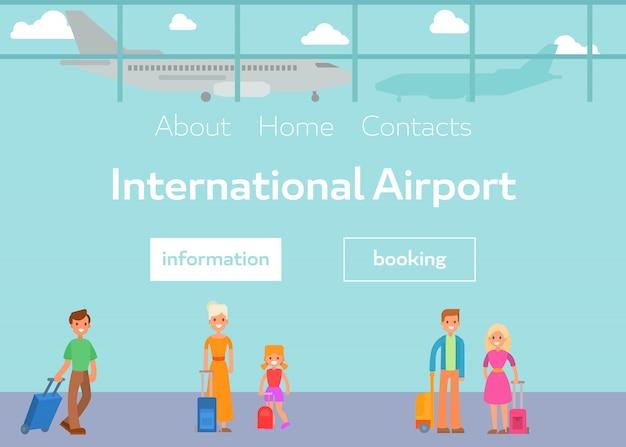 Turisti in terminal dell'aeroporto internazionale con illustrazione vettoriale bagagli. passeggeri piatti del fumetto e prenotazione al modello web dell'aeroporto.