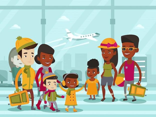 Turisti multietnici che si incontrano all'aeroporto.