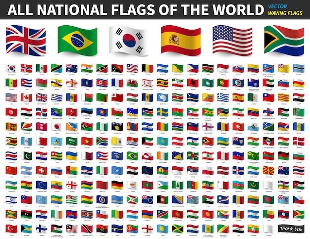 Tutte le bandiere nazionali del mondo. disegno di bandiera sventolante