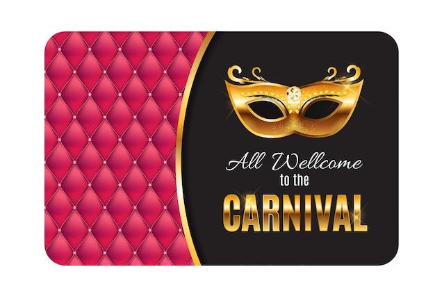 Tutti benvenuti al carnevale, evento popolare in brasile. design con maschera per feste. concetto di travestimento.