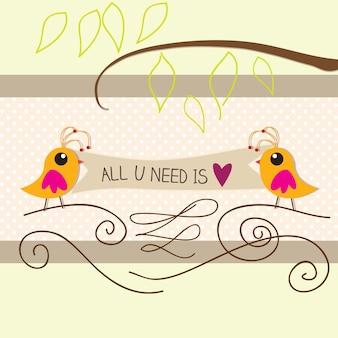 Tutto ciò che serve è illustrazione vettoriale uccelli amore