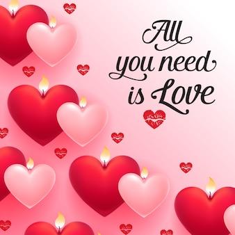 Tutto ciò di cui hai bisogno è amore lettering con cuori rossi e rosa