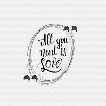 Tutto il tuo bisogno è amore lettering a mano