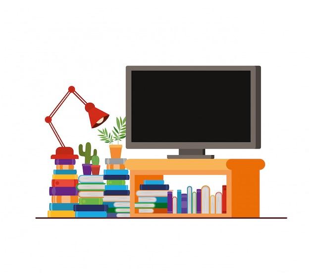 Tv al plasma con ripiano in legno e libri