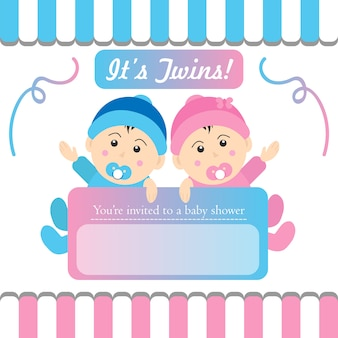 Twins baby shower invito