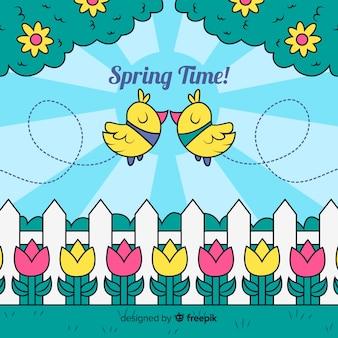 Uccelli che baciano sfondo primavera