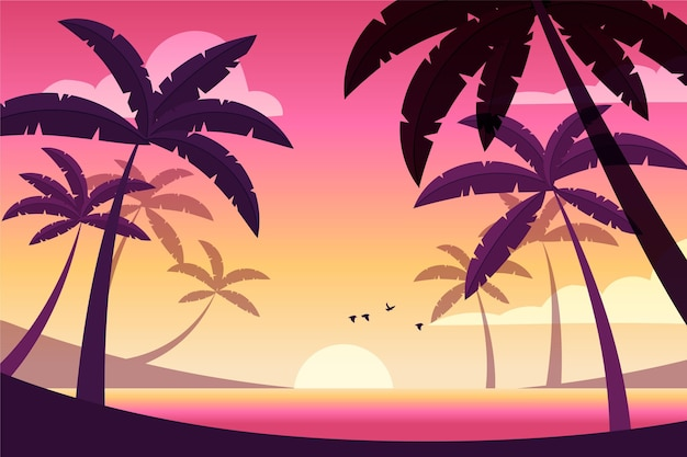 Uccelli che volano al fondo del tramonto
