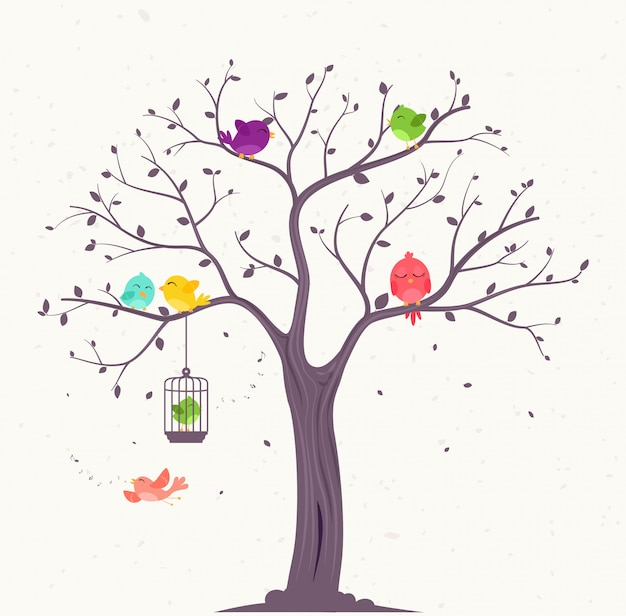 Uccelli colorati su bellissimi alberi