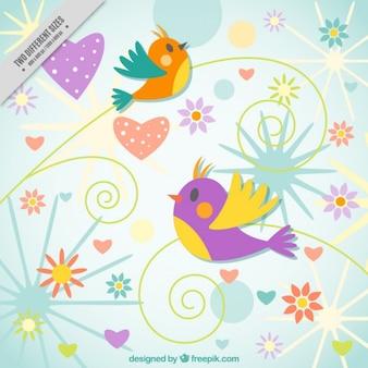 Uccelli colorati su sfondo astratto