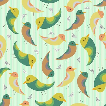 Uccelli disegnati a mano colorati senza soluzione di continuità