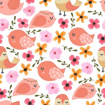 Uccelli e fiori cartoon seamless pattern