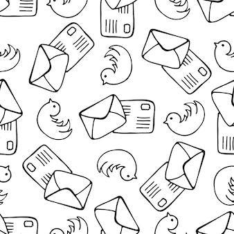 Uccelli e lettera senza lettera. sfondo vettoriale di posta di doodle