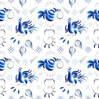 Uccelli e rose blu in stile gzhel
