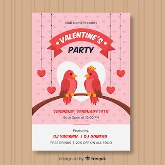 Uccelli su un poster di partito di san valentino ramo