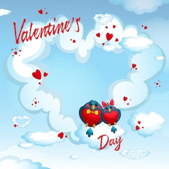 Uccelli sullo sfondo di un cuore di nuvole. cornice per testo o foto su san valentino.