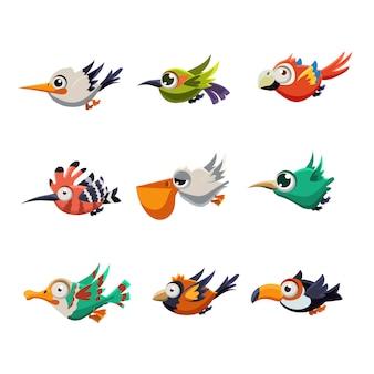 Uccelli volanti variopinti nell'insieme dell'illustrazione di profilo