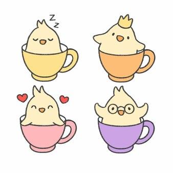 Uccellino in una tazza della raccolta disegnata a mano del fumetto del tè