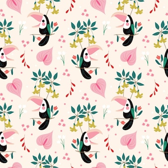 Uccello carino e varietà amazon flower seamless pattern