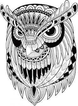 Uccello carino gufo in stile zentangle