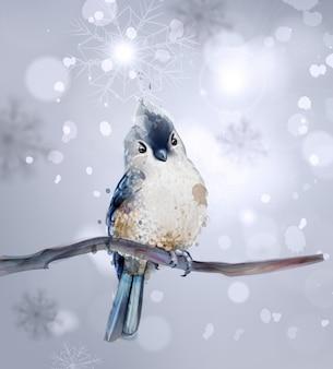 Uccello carino su un acquerello di ramo