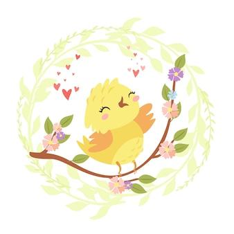 Uccello carino su un ramo