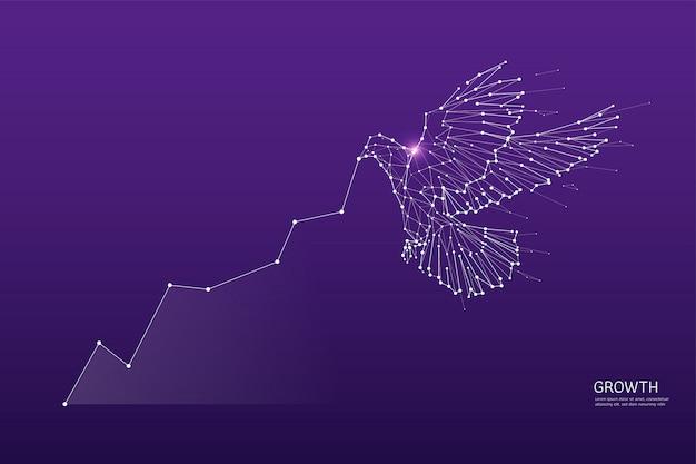Uccello che vola in stile poligonale wireframe
