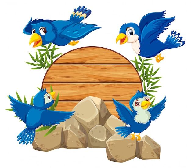 Uccello con bambù di legno