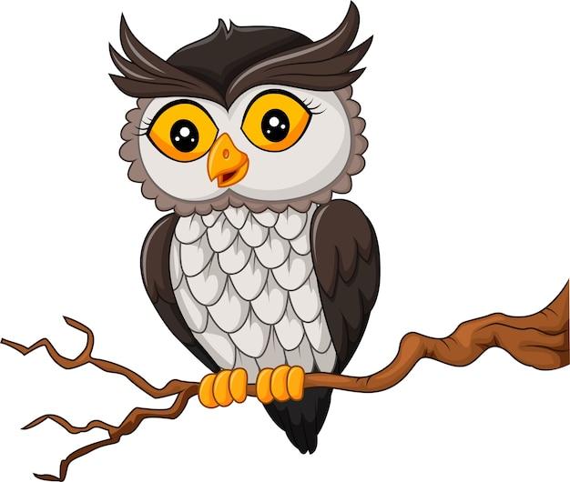Uccello del gufo del fumetto che posa sull'albero