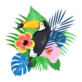 Uccello del pappagallo con la priorità bassa della pianta tropicale