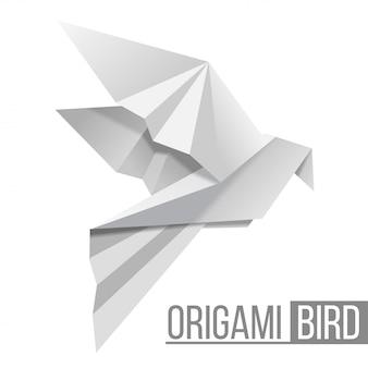 Uccello di carta origami. figura volante di piccione su sfondo bianco. forma poligonale.