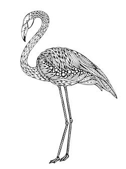 Uccello di fenicottero disegnato a mano in stile ornato fantasia doodle.