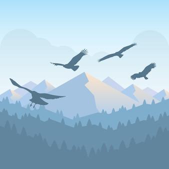 Uccello di preda silhouette del buzzard che vola nel cielo e nella montagna rurale