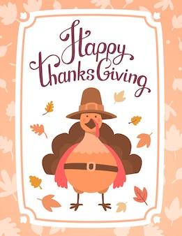 Uccello di tacchino arancione in cappello marrone e testo felice giorno del ringraziamento su bianco con foglie e cornice.