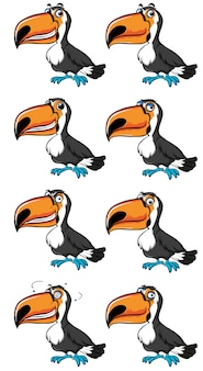 Uccello di toucan con emozioni diverse