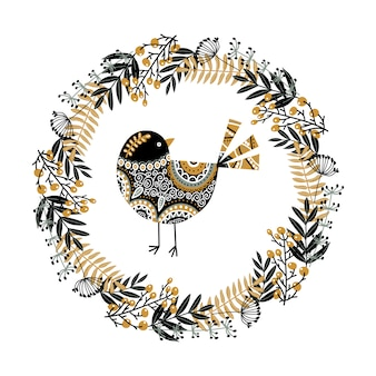 Uccello e una corona di piante, fiori e bacche