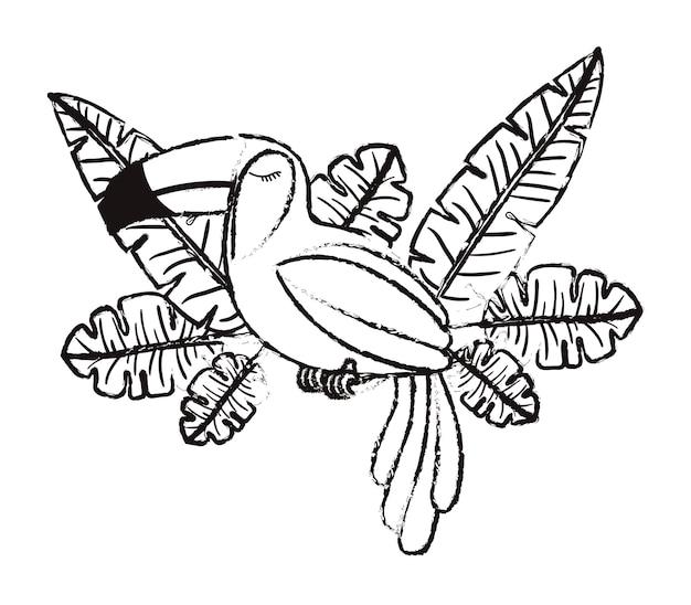 Uccello esotico tucano con foglie di palma
