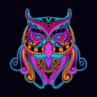 Uccello in arte stile di colore al neon