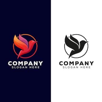 Uccello moderno per il tuo logo aziendale con versione nera