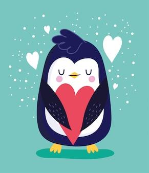 Uccello pinguino con cuori