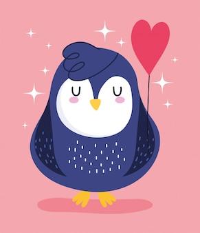 Uccello pinguino con palloncino a forma di cuore